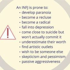 Myers Briggs INFJ personality type the dark side. Sad but sometimes true. I have definitely struggled with many of these at different times! Infj Mbti, Intj And Infj, Infj Type, Isfj, Infj Traits, Myers Briggs Infj, Myers Briggs Personality Types, Infj Personality, Personality Profile