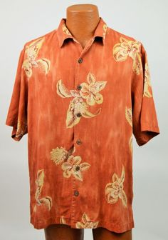 Tommy Bahama Mens M 100% Silk Hawaiian Floral Button Up Shirt EX Used #TommyBahama #ButtonFront