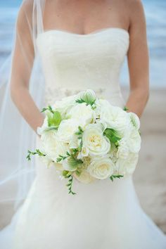 24 Prettiest Little Wedding Bouquets to Have and to Hold - MODwedding   {Ultra Elegant Bridal Bouquet Which Showcases: White English Garden Roses, White Freesia & Buds & Green/White Lady Slipper Orchids}