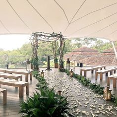 Last night's wedding location @westinplayaconchal was so beautiful! A gorgeous outdoor view that was safe from the scattered showers- best of both worlds. How gorgeous is this ceremony setup?! #blissfulwestinweddings #presstrip #costarica #westinplayaconchal // See this post on Instagram: http://ift.tt/2hxdrVp