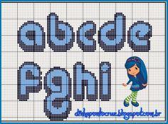 Olá meninas!  Hoje mais um monograma coordenado com os graficos da Carina Cassol, dessa vez é a Amorinha da turma da moranguinho:           ...