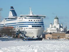 South Harbor of Helsinki, Finland. Arrive to Finland on a huge vessel. See the magnitude compared with the Helsinki Cathedral on the background. Meanwhile In Finland, Great Places, Places To See, Visit Helsinki, Cruise Port, Scenery, Around The Worlds, Hotels, Nostalgia