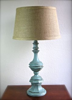 RESERVED LISTING for Sam & Britt Ward: Cottage Chic Distressed Lamp Duck Egg Blue Burlap Lampshade Hand Painted Annie Sloan Chalk Paint on Etsy, $70.00