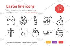 Easter Line Icons Set by roundicons.com on @creativemarket