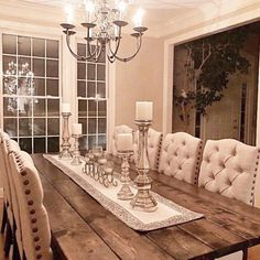 Rustic Glamour #modernfarmhouse #aff #woodsandwhites #nuetrals #diningtable #diningroom