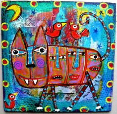 """""""Are Birds Next In This Belly Of The Beast??"""" Original acrylic kewl collage painting, created by me, Tracey Ann Finley! Like cats?"""