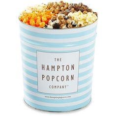 The Hampton Popcorn Company Variety Popcorn Tin ($59) ❤ liked on Polyvore featuring home, kitchen & dining, food storage containers, food, food & drinks, apparel & accessories and no color
