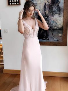 Gorgeous A-Line Prom Dresses V-Neck Sweep Train Evening Dress Pearl Pink  Graduation Dress Chiffon Prom Dress with Beading from Butterfly Love 46d0d305b