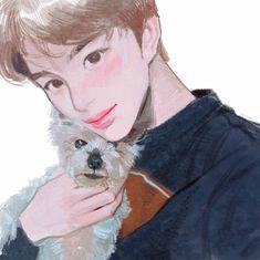 Photo & fan art cr to : Kpop Drawings, Art Drawings, Boy Illustration, Korean Art, Kpop Fanart, Art Sketches, Art Reference, Chibi, Cool Art