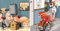 16 Marvel And DC Characters' Daily Lives After Retirement, As Illustrated By This Artist