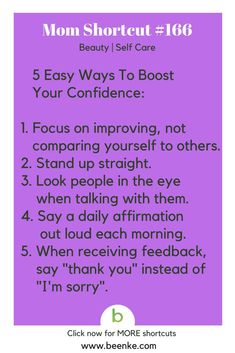 Beauty and Self Care Shortcuts #166: Easy ways to boost confidence! Get your daily source of awesome life hacks and parenting tips! CLICK NOW to discover more Mom Hacks. #beenke #MomShortcuts #MomHacks
