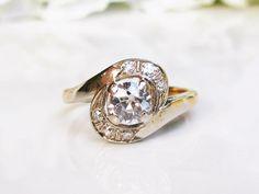 Old Mine Cut Diamond Engagement Ring Diamond Swirl Wedding Ring 0.79ctw Diamond Bypass Ring 14K Two Tone Gold Ring  $1,845