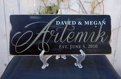 Personalized Established Signs with Last Name by RusticaHomeDecor