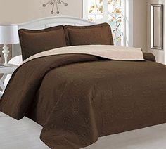 Home Sweet Home Victoria Design Reversible 3 PC Quilt Bedspread Sets (Full/Queen, Brown/Beige) //http://bestadjustablebed.us/product/home-sweet-home-victoria-design-reversible-3-pc-quilt-bedspread-sets-fullqueen-brownbeige/
