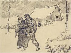 People Walking in Front of Snow-Covered Cottage - Vincent van Gogh . Created in Saint-Rémy in March - April, Located at Van Gogh Museum Paul Gauguin, Vincent Van Gogh, Artist Van Gogh, Van Gogh Art, Theo Van Gogh, Van Gogh Drawings, Van Gogh Paintings, Van Gogh Museum, Art Van