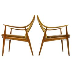 Early Pair Hvidt & Molgaard Lounge Chairs Teak & Cane 1956, FD 156. Produced from France & Daverkosen, Denmark.Teak Wood, Cane and original cognac colored leather