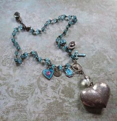Vintage Faith Charm Necklace with Puffy Heart and by MiladyLinden
