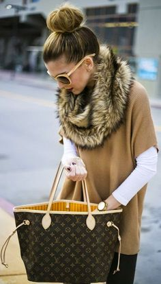 Michael Kors Beige Poncho Sweater, LV bag, and fau...