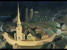 """Paul Revere's Ride, a personal Favorite, by Grant Wood. Grant Wood is also known for his iconic painting, """"American Gothic"""" Paul Revere, American Gothic, American Story, Harlem Renaissance, Grant Wood Paintings, Oil Paintings, Landscape Paintings, Watercolor Paintings, Iowa"""