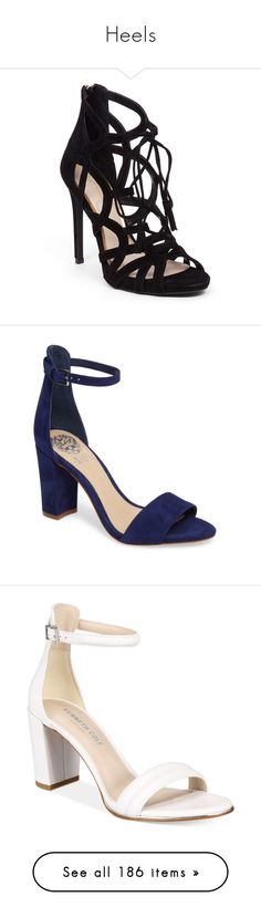 """Heels"" by haylee-rosalia ❤ liked on Polyvore featuring shoes, heels, sandals, blue, cushioned shoes, suede shoes, suede leather shoes, blue shoes, cage heel shoes and moody blues nubuck leather"