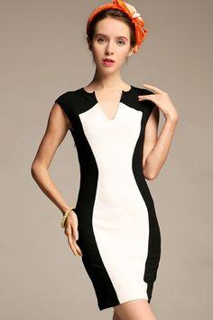 Contrast V-Neck Sleeveless Body-Con Dress - OASAP.com