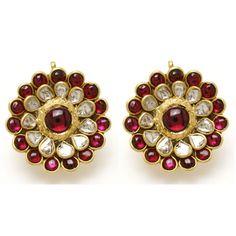 22k gold uncut diamond and ruby earrings.
