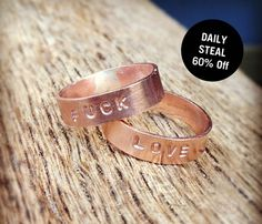 Fuck Love Copper Rings
