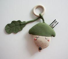 Acorn baby teething rattle toy in handmade Acorn by Skripskrap