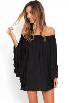 One of the best-sellers, this Ethereal Chiffon Mini Dress makes a great make-up for the women's life. It features carefully trimmed flat neckline, long trumpet sleeves, pleated design and comfy cool l