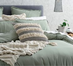 Simple and contemporary, the Frankie Seagrass quilt cover will appeal to those seeking an effortless, yet refined style. Pre-washed for a beautiful softness and relaxed, lived-in look, Frankie is finished with a uniquely modern fringe detail. Sage Green Bedroom, Bedding And Curtain Sets, Double Quilt, Single Quilt, Hotel Collection Bedding, Bedroom Retreat, Bed Linen Design, Queen Quilt, Dorm Bedding
