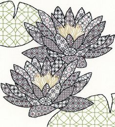 Bothy Threads Blackwork Water Lily Cross Stitch Kit - x Discover more kits by Bothy Threads at LoveCrafts. From knitting & crochet yarn and patterns to embroidery & cross stitch supplies! Shop all the craft materials you need to start your next Motifs Blackwork, Blackwork Cross Stitch, Blackwork Embroidery, Embroidery Patterns Free, Embroidery Kits, Cross Stitching, Cross Stitch Embroidery, Cross Stitch Patterns, Creative Embroidery