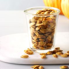 Roasted Pumpkin Seeds Recipe -Roasting pumpkin seeds is easier than it seems. Just hollow a pumpkin out, spice 'em and bake 'em for a fun snack. Cinnamon Sugar Pumpkin Seeds, Savory Pumpkin Seeds, Perfect Pumpkin Seeds, Homemade Pumpkin Seeds, Pumpkin Seed Recipes, Pumpkin Seed Butter, Toasted Pumpkin Seeds, Roast Pumpkin, Baked Pumpkin