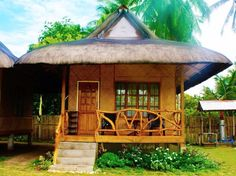 Escape into the Philippines☀️Beautiful cottage just two minutes from San Vicente Long Beach and nicely equipped with all the amenities a canna traveler would need. Bamboo House Design, Simple House Design, Hut House, House Roof, Bahay Kubo Design Philippines, Filipino House, One Storey House, Small Cottage Homes, House Essentials