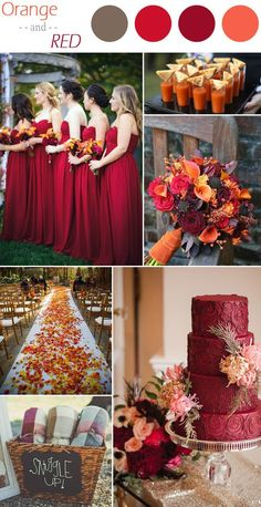 These dresesses are the right color. I love the bouquet, the use of leaves on the runner, and the drinks look interesting. ^ ^- orange and red rustic fall wedding color ideas rustic wedding 6 Practical Wedding Color Combos for Fall 2015 Fall Wedding Colors, Wedding Color Schemes, October Wedding Colors, Purple Wedding, Autumn Wedding Ideas, Autumn Wedding Cakes, Black Red Wedding, Gold Wedding, Wedding 2017