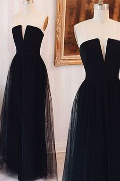 Black Long Prom Dress, 2017 Strapless Black Long Prom Dress, Formal Evening Dress