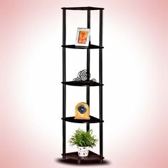 Furinno Corner Shelf Turn-N-Tube Style 5 Pvc Tier , Espresso/Black #Furinno
