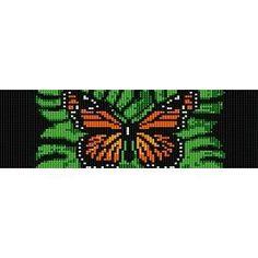 Instant Download Beading Pattern Peyote Stitch Bracelet Monarch Butterfly Green Seed Bead Cuff
