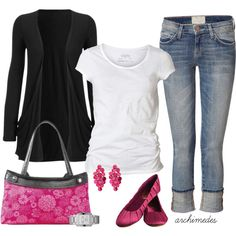 Denim and Pink -love the long black cardigan.