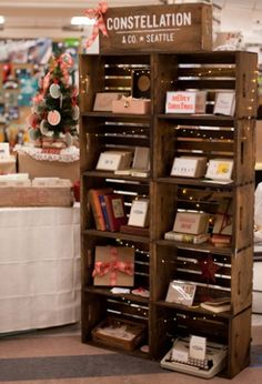 Store displays ideas make your happy selling shorewest's diy project: crate bookshelf crate bookshelf, wooden box shelves, wooden boxes,