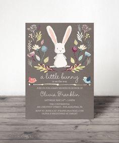 Bunny Baby Shower Invite - Baby Shower Invitation - Rabbit Baby Shower Invite…
