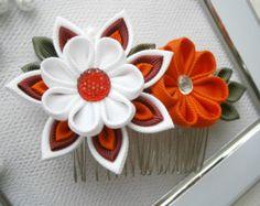 Handmade Kanzashi fabric flower hair comb fascinator buy in