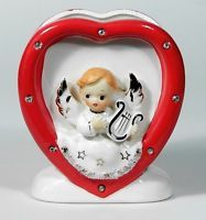 DICKSON Japan Vintage HEART & ANGEL Planter With Rhinestones