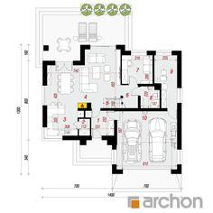 projekt Dom w kortlandach (G2) rzut parteru