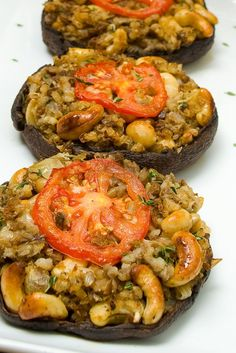 NYT Cooking: In this satisfying centerpiece dish from Chloe Coscarelli, the vegan chef and cookbook author, portobello mushroom caps are filled with savory lentil cashew stuffing, topped with a slice of tomato and fresh thyme leaves then baked until golden brown and bubbly. It is hearty fare that will surprise and delight everyone at your table.
