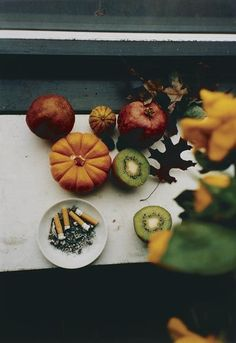 WOLFGANG  TILLMANS  (b. 1968)  Last Still Life. light defines colors very well. it describes life from a fresh ripen fruit to dry leaves and become an ash like cigarette.