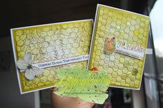 two card with honeycomb