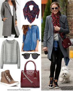 Olivia Palermo street style in layers with leather pants, a gray sweatshirt, a chambray shirt, and gray coat