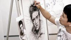 Por el Amor del Art-E: El arte del garabato Vince Low, Celebrity Portraits, Stippling, Oeuvre D'art, Oeuvres, Drawing Techniques, Scribble, Graphic Design Inspiration, Book Art