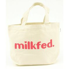 MILKFED. / MINI TOTE BAG Oui (WHITE) ($13) ❤ liked on Polyvore featuring bags…