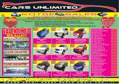 VALENTINES BIG SALE!!! at CARS UNLIMITED We accept Trade-In and Bank Financing For more information, please contact: Mark young Mobile Nos.: (+63917)899-0797 | (+63922)888-3755 (+63999)999-8999 Telephone Nos.: (632)964-9510